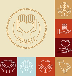Charity line logos and signs vector