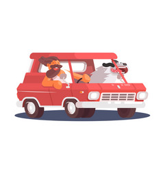 cheerful guy going car with dog vector image