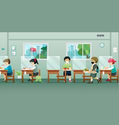 children in cafeteria vector image
