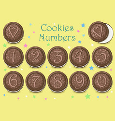 Chocolate cookies numbers vector