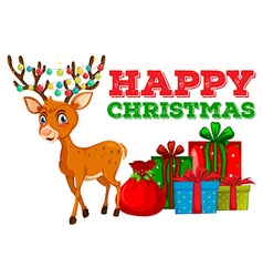 Christmas card design with reindeer and presents vector