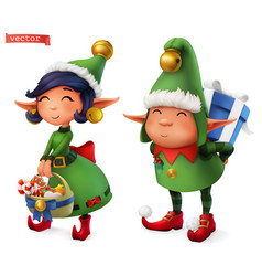 christmas elves 3d icon vector image