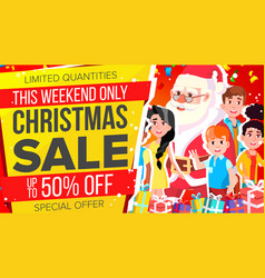 christmas sale banner discount up to 50 vector image