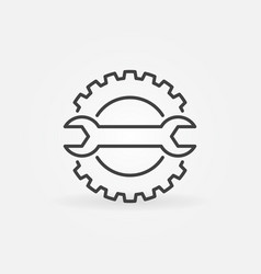 cog wheel with spanner line concept icon vector image