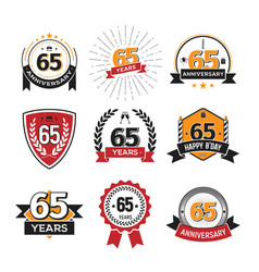 collection of retro 65 th years anniversary logo vector image