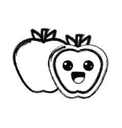 Contour kawaii cute happy apple fruit vector