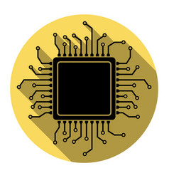 cpu microprocessor flat vector image