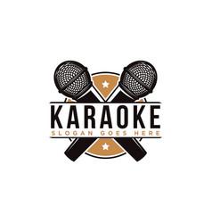 Crossed microphone logo karaoke logo icon vector