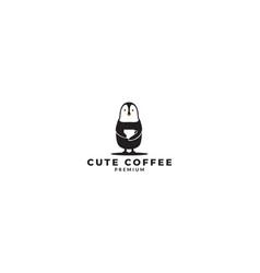 Cute penguin hug cup coffee logo design vector