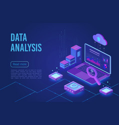 data analysis dark neon light isometric web banner vector image