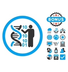 DNA Code Report Flat Icon with Bonus vector image