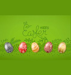 easter greeting card easter eggs 3d and in doodle vector image