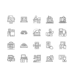 ecommerce services line icons signs set vector image