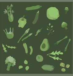 Flat green vegetables set in boho colors vector