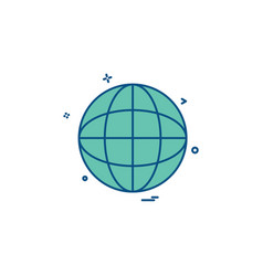 globe map icon design vector image