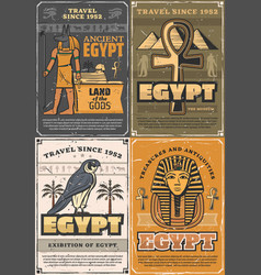 Gods ancient egypt coptic cross falcon bird vector