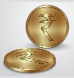 Gold coins with Indian Rupee currency sign vector