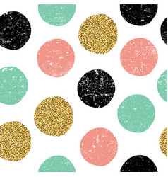 Gold green and black dots seamless textured vector