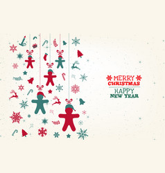 green and red vintage christmas elements reindeer vector image