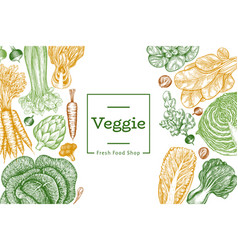 hand drawn sketch vegetables design organic fresh vector image