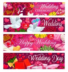 happy wedding day marriage ceremony invitation vector image