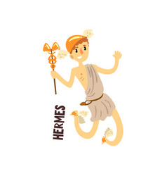 Hermes olympian greek god ancient greece vector
