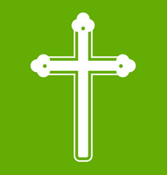 Holy cross icon green vector