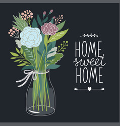 Home sweet home design card vector