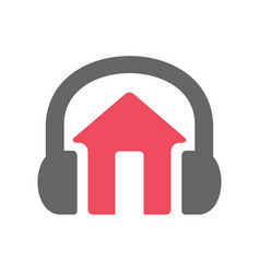House and headset logo design vector