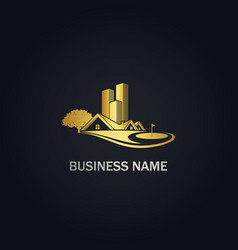 House building golf yard gold logo vector