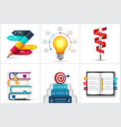 infographic set with realistic pencil books vector image