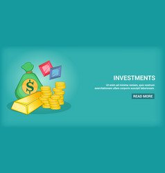Investments banner horizontal cartoon style vector