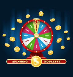 Jackpot lucky wheel and winner money rain vector
