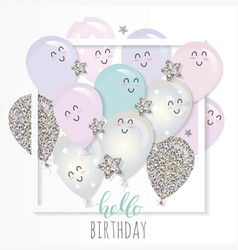 kawaii balloons in paper cut out frame birthday vector image
