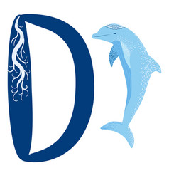 letter d is dolphin alphabet english abc vector image