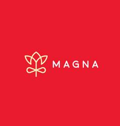 linear flower gift logo design elegant crown vector image