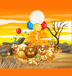 Lion group family in party theme cartoon vector