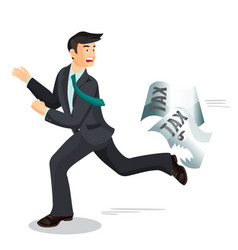 man escaping from taxes tax dodging non-payment vector image