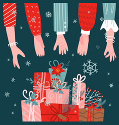 many people hands reaching for stack gift vector image