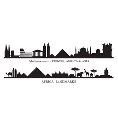 Mediterranean and africa skyline landmarks vector