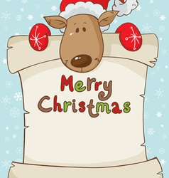 Merry Christmas card with deer and scroll vector image