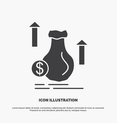 money bag dollar growth stock icon glyph gray vector image