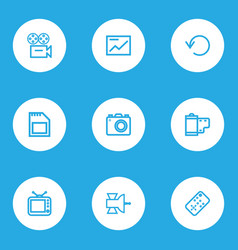 Multimedia outline icons set collection of memory vector
