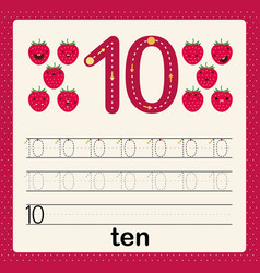 Number ten card for kids learn to count and write vector