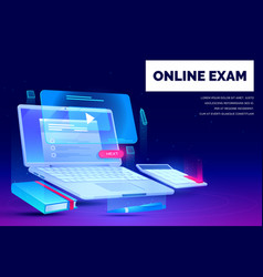 online exam distant education landing page banner vector image