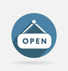 open label sign Circle blue icon with shadow vector image