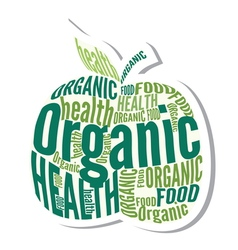 Organic apple design label vector image