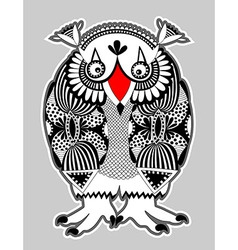 Ornate doodle fantasy monster personage owl vector