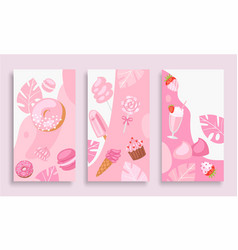 pink sweet dessert cartoon vector image