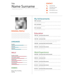Professional resume cv on white background vector
